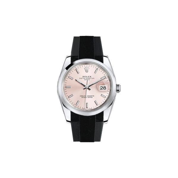 ラバーB【RUBBERB】ROLEXオイスターパーペチュアル 34mm専用ラバーベルト 色:グレー×ブラック【ROLEX純正バックルを使用】※時計、バックルは付属しません