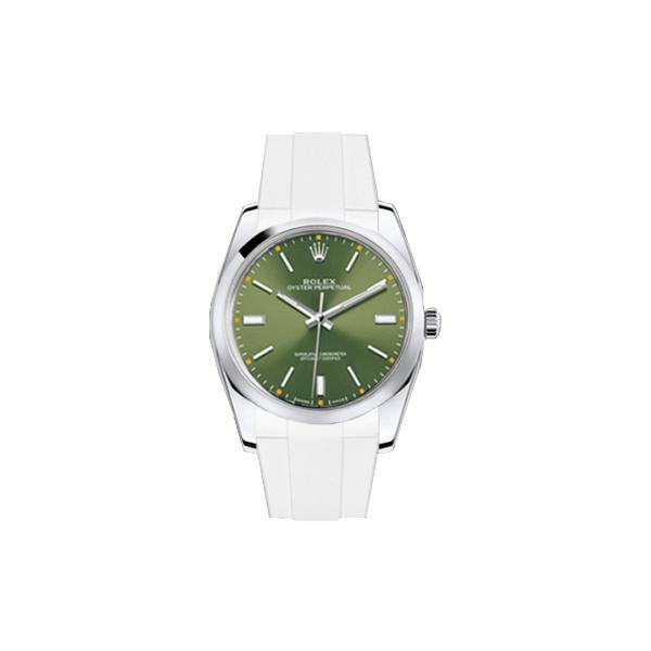 ラバーB【RUBBERB】ROLEXオイスターパーペチュアル 34mm専用ラバーベルト 色:ホワイト【ROLEX純正バックルを使用】※時計、バックルは付属しません