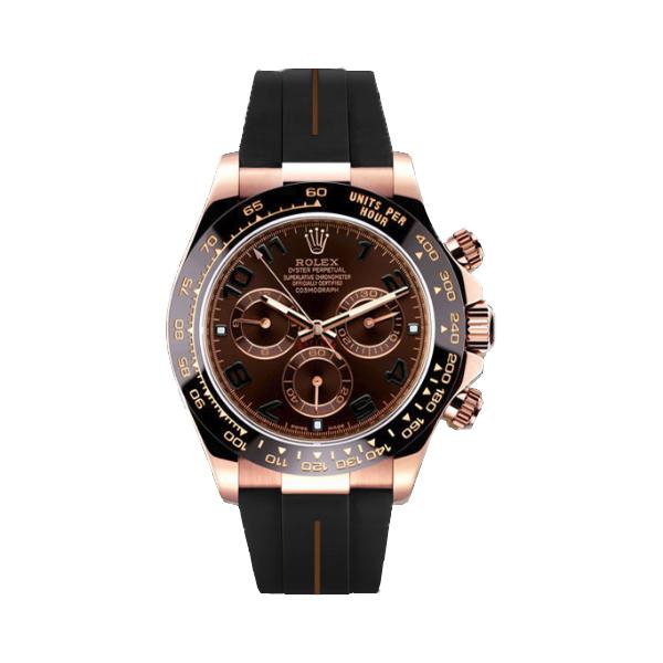 ラバーB【RUBBERB】ロレックス(ROLEX)デイトナ(DAYTONA)116515LN(革ストラップ)専用ラバーベルト【ブラック×ブラウンライン】※時計は付属しません
