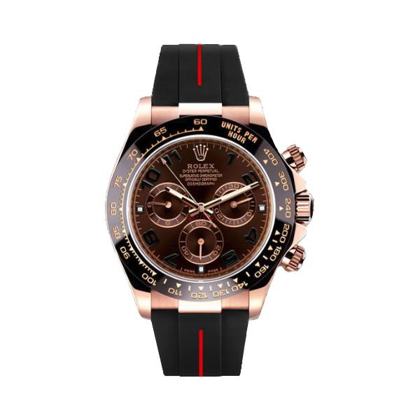 ラバーB【RUBBERB】ロレックス(ROLEX)デイトナ(DAYTONA)116515LN(革ストラップ)専用ラバーベルト【ブラック×レッドライン】※時計は付属しません