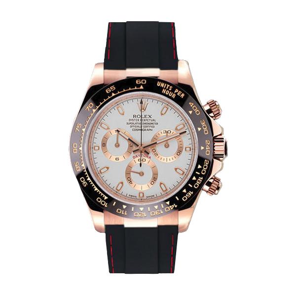ラバーB【RUBBERB】ロレックス(ROLEX)デイトナ(DAYTONA)116515LN(革ストラップ)専用ラバーベルト【ブラック×レッドステッチ】※時計は付属しません