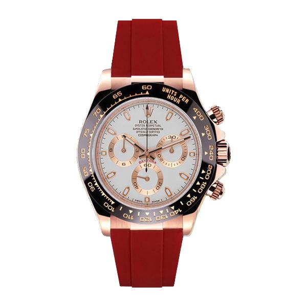ラバーB【RUBBERB】ロレックス(ROLEX)デイトナ(DAYTONA)116515LN(革ストラップ)専用ラバーベルト【レッド】※時計は付属しません