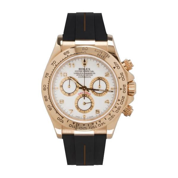 ラバーB【RUBBERB】ロレックス(ROLEX)デイトナ YG/WG(革ストラップ)(Ref.116518、116519)専用ラバーベルト【ブラック×ブラウンライン】※時計は付属しません