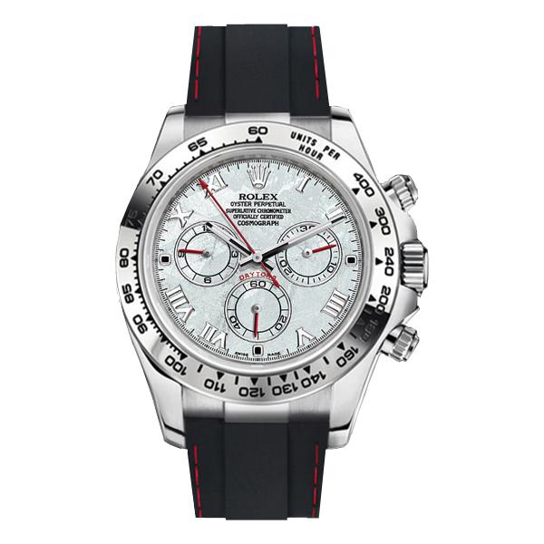ラバーB【RUBBERB】ロレックス(ROLEX)デイトナ YG/WG(革ストラップ)(Ref.116518、116519)専用ラバーベルト【ブラック×レッドステッチ】※時計は付属しません