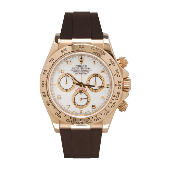 ラバーB【RUBBERB】ロレックス(ROLEX)デイトナ YG/WG(革ストラップ)(Ref.116518、116519)専用ラバーベルト【ブラウン】※時計は付属しません