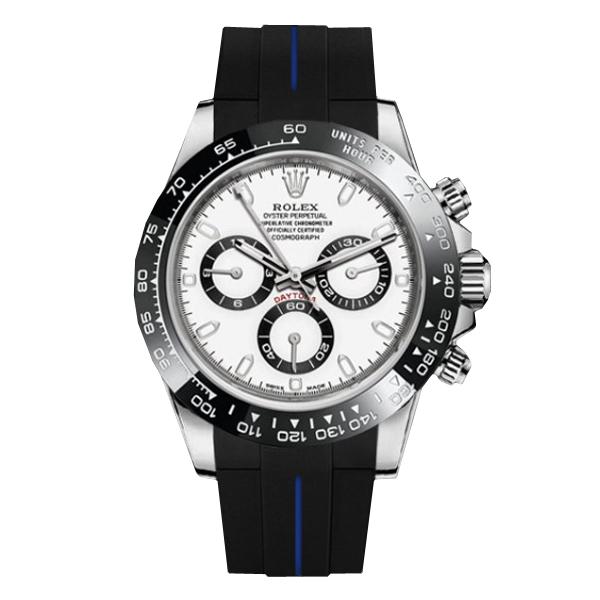 ラバーB【RUBBERB】ロレックス(ROLEX)デイトナ(DAYTONA)オイスターブレスレットモデル専用ラバーベルト【ブラック×ブルー】【ROLEX純正バックルを使用】※時計、バックルは付属しません