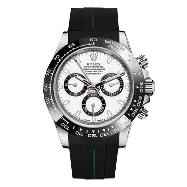 ラバーB【RUBBERB】ロレックス(ROLEX)デイトナ(DAYTONA)オイスターブレスレットモデル専用ラバーベルト【ブラック×グリーン】【尾錠付き】※時計は付属しません