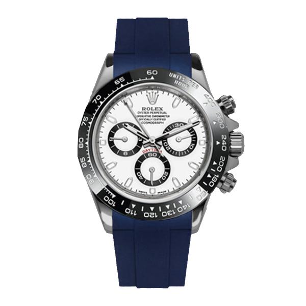 ラバーB【RUBBERB】ロレックス(ROLEX)デイトナ(DAYTONA)オイスターブレスレットモデル専用ラバーベルト【ネイビー】【ROLEX純正バックルを使用】※時計、バックルは付属しません