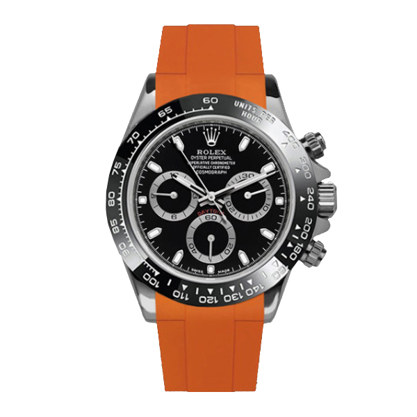 ラバーB【RUBBERB】ロレックス(ROLEX)デイトナ(DAYTONA)オイスターブレスレットモデル専用ラバーベルト【オレンジ】【ROLEX純正バックルを使用】※時計、バックルは付属しません