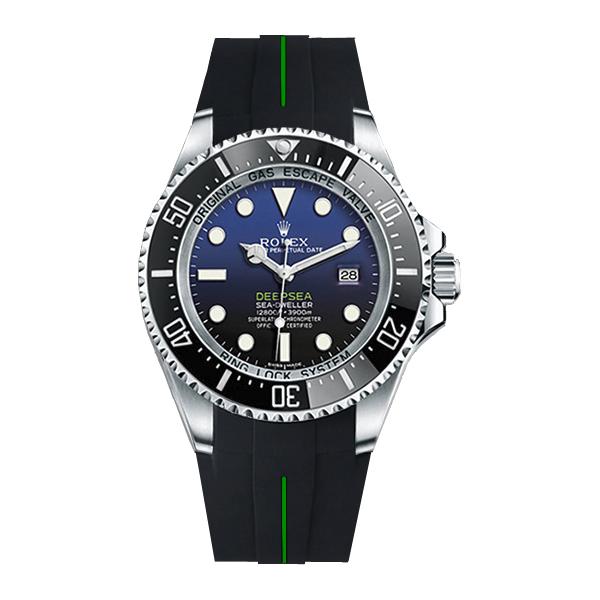 ラバーB【RUBBERB】ROLEX ディープシー(Ref.116660)専用ラバーベルト 色:ブラック×グリーン【尾錠付き】※時計は付属しません