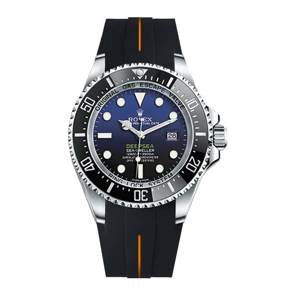 ラバーB【RUBBERB】ROLEX ディープシー(Ref.116660)専用ラバーベルト 色:ブラック×オレンジ【尾錠付き】※時計は付属しません