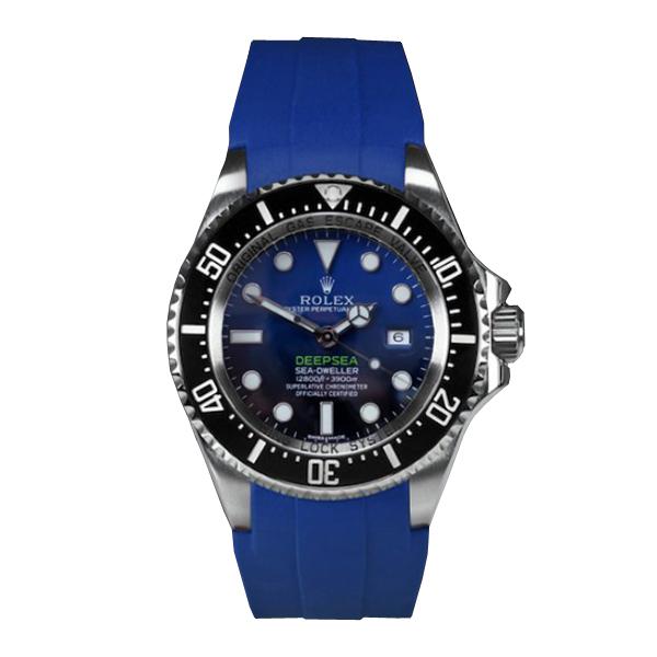 RUBBERB ロレックス ディープシー(Ref.126660)専用ラバーベルト 色:ブルー【尾錠付き】※時計は付属しません