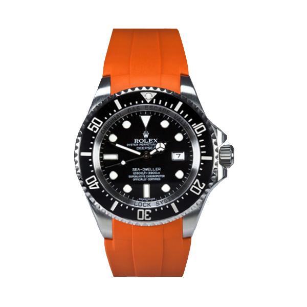 ラバーB【RUBBERB】ROLEX ディープシー(Ref.116660)専用ラバーベルト 色:オレンジ【尾錠付き】※時計は付属しません
