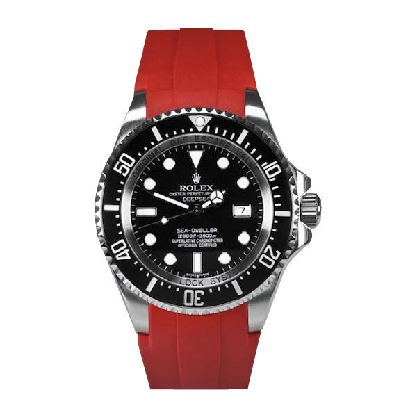 ラバーB【RUBBERB】ROLEX ディープシー(Ref.116660)専用ラバーベルト 色:レッド【尾錠付き】※時計は付属しません