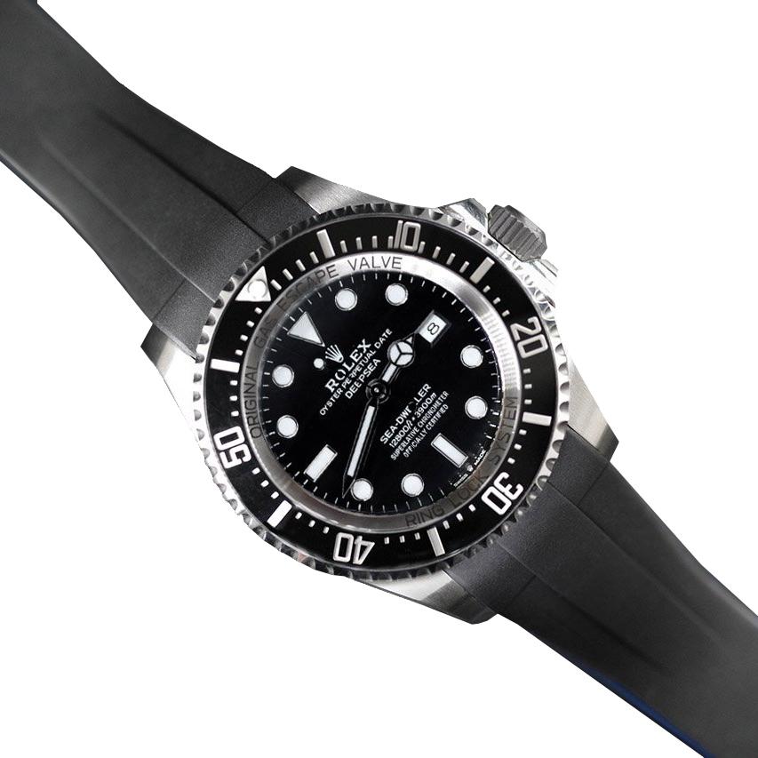 RUBBERB ロレックス ディープシー(Ref.126660)専用ラバーベルト【ブラック×ブルー】【ROLEXバックルを使用】※時計、バックルは付属しません