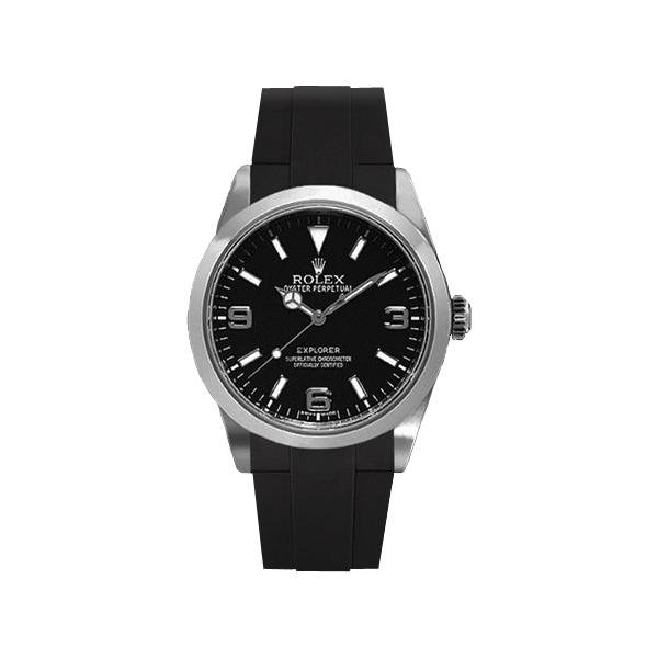 ラバーB【RUBBERB】ROLEXエクスプローラーI専用ラバーベルト 色:ブラック【ROLEX純正バックルを使用】(2010年以降モデル対応)※時計、バックルは付属しません