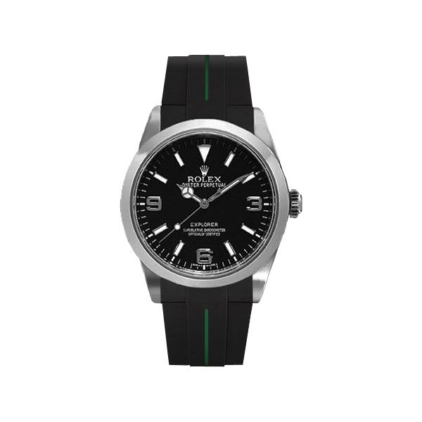 ラバーB【RUBBERB】ROLEXエクスプローラーI専用ラバーベルト 色:ブラック×グリーン【ROLEX純正バックルを使用】(2010年以降モデル対応)※時計、バックルは付属しません