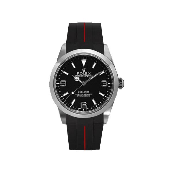 ラバーB【RUBBERB】ROLEXエクスプローラーI専用ラバーベルト 色:ブラック×レッド【尾錠付き】(2010年以降モデル対応)※時計は付属しません