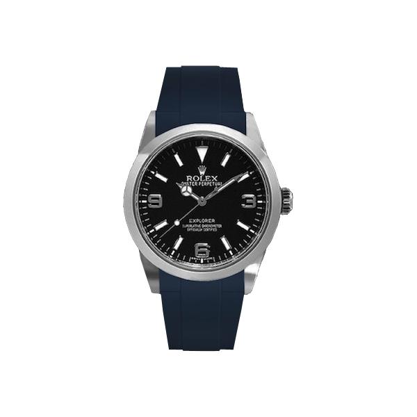 ラバーB【RUBBERB】ROLEXエクスプローラーI専用ラバーベルト 色:ネイビー【ROLEX純正バックルを使用】(2010年以降モデル対応)※時計、バックルは付属しません