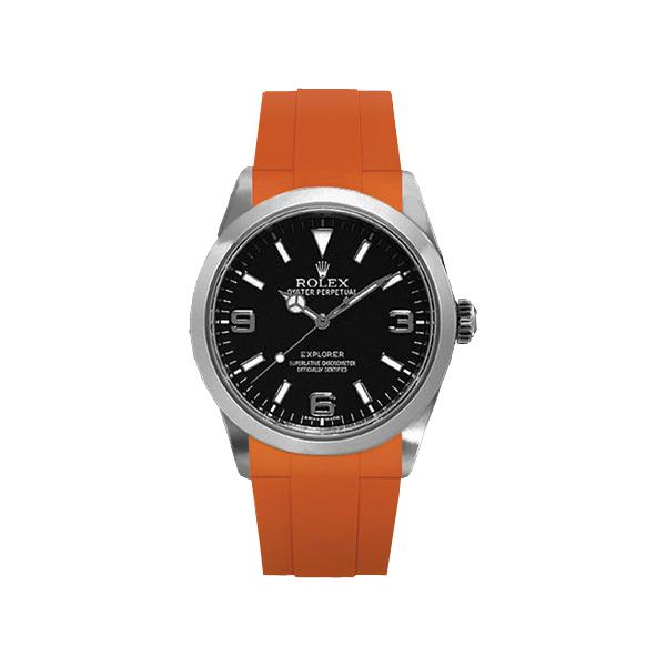 ラバーB【RUBBERB】ROLEXエクスプローラーI専用ラバーベルト 色:オレンジ【ROLEX純正バックルを使用】(2010年以降モデル対応)※時計、バックルは付属しません
