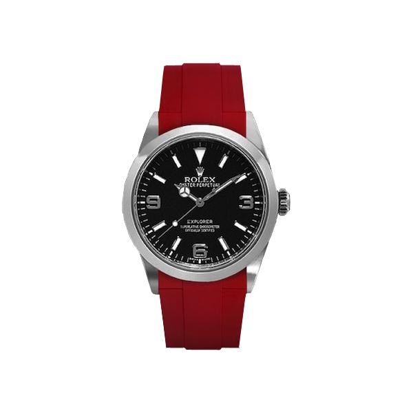 ラバーB【RUBBERB】ROLEXエクスプローラー専用ラバーベルト 色:レッド【ROLEX純正バックルを使用】(2010年以降モデル対応)※時計、バックルは付属しません