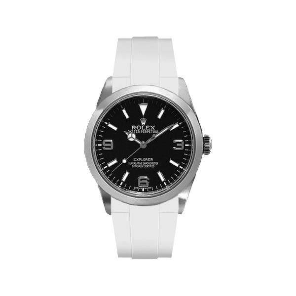 ラバーB【RUBBERB】ROLEXエクスプローラーI専用ラバーベルト 色:ホワイト【ROLEX純正バックルを使用】(2010年以降モデル対応)※時計、バックルは付属しません