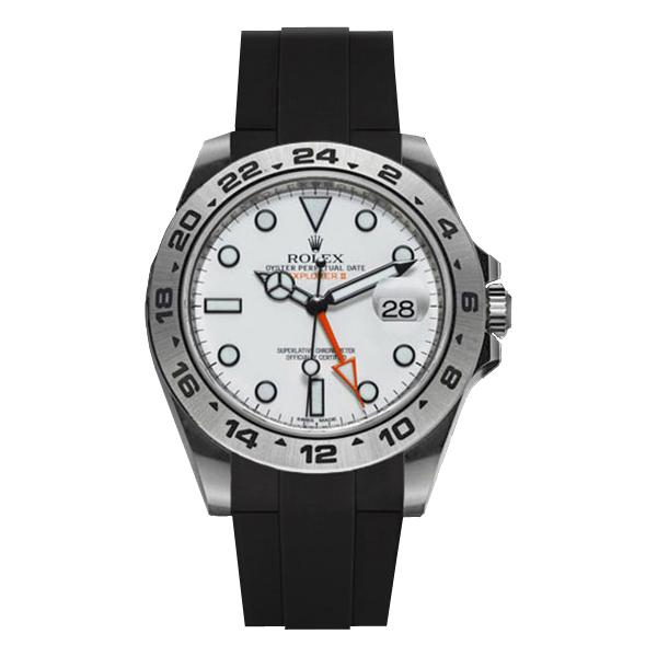 ラバーB【RUBBERB】ROLEXエクスプローラーII専用ラバーベルト 色:ブラック【ROLEX純正バックルを使用】(42mmモデルに適合)※時計、バックルは付属しません