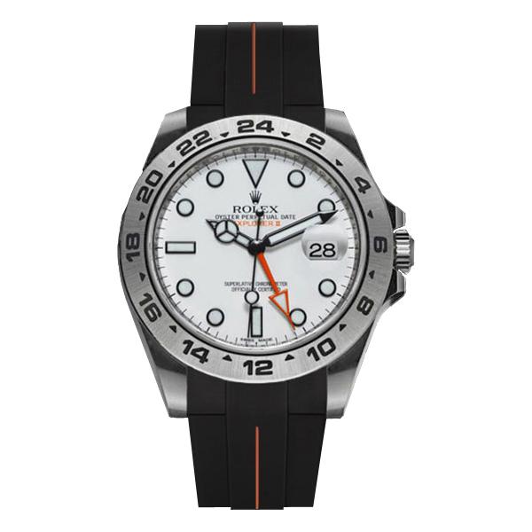 ラバーB【RUBBERB】ROLEXエクスプローラーII専用ラバーベルト 色:ブラック×オレンジ【ROLEX純正バックルを使用】(42mmモデルに適合)※時計、バックルは付属しません