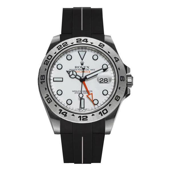 ラバーB【RUBBERB】ROLEXエクスプローラーII専用ラバーベルト 色:ブラック×ホワイト【ROLEX純正バックルを使用】(42mmモデルに適合)※時計、バックルは付属しません