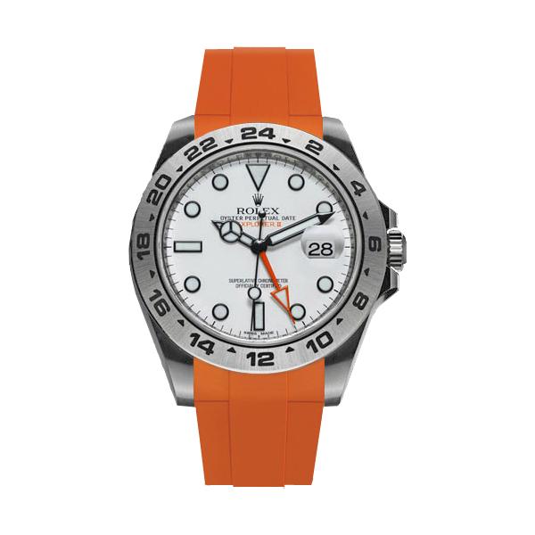 ラバーB【RUBBERB】ROLEXエクスプローラーII専用ラバーベルト 色:オレンジ【ROLEX純正バックルを使用】(42mmモデルに適合)※時計、バックルは付属しません