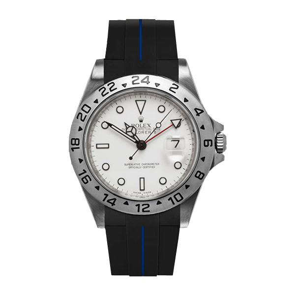 ラバーB【RUBBERB】ROLEXエクスプローラーII専用ラバーベルト 色:ブラック×ブルー【ROLEX純正バックルを使用】※時計、バックルは付属しません