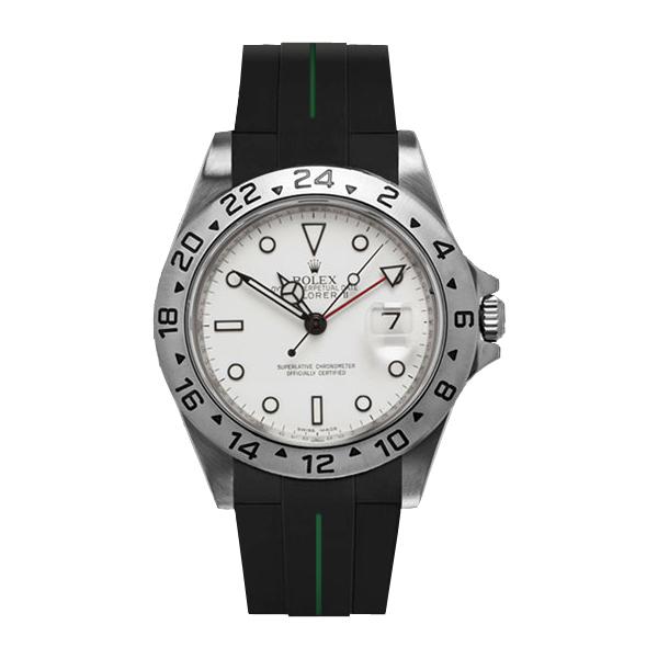 高級時計をカジュアルにROLEXエクスプローラーII専用ラバー 年間定番 ラバーB RUBBERB ROLEXエクスプローラーII専用ラバーベルト ※時計 ROLEX純正バックルを使用 バックルは付属しません バーゲンセール 色:ブラック×グリーン