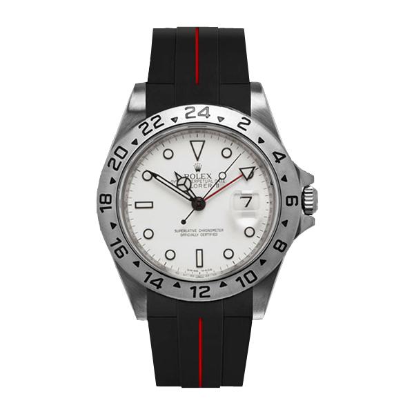 ラバーB【RUBBERB】ROLEX エクスプローラー専用ラバーベルト 色:ブラック×レッド【ROLEX純正バックルを使用】(2010年以降モデル対応)※時計、バックルは付属しません