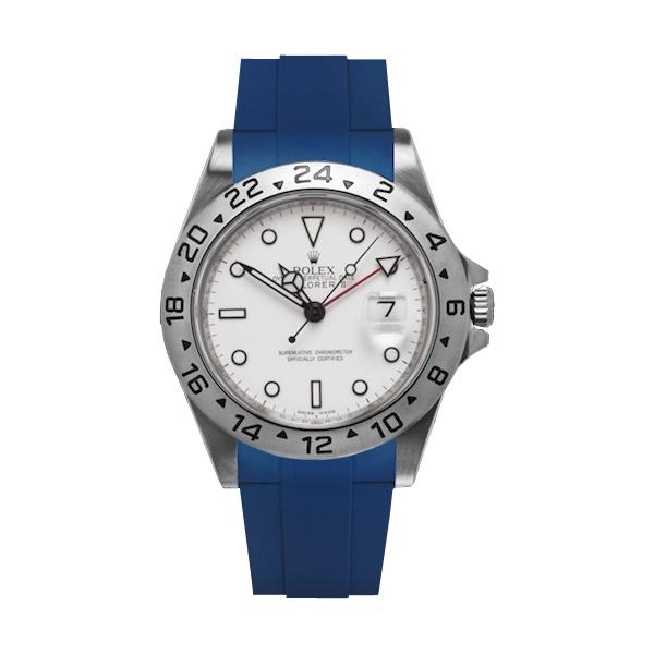 ラバーB【RUBBERB】ROLEXエクスプローラーII専用ラバーベルト 色:ブルー【尾錠付き】※時計は付属しません