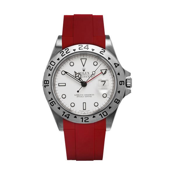 ラバーB【RUBBERB】ROLEXエクスプローラーII専用ラバーベルト 色:レッド【尾錠付き】※時計は付属しません