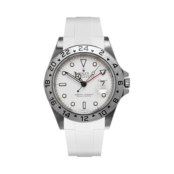 高級時計をカジュアルにROLEXエクスプローラーII専用ラバー ラバーB RUBBERB ROLEXエクスプローラーII専用ラバーベルト 別倉庫からの配送 100%品質保証! 色:ホワイト ※時計 バックルは付属しません ROLEX純正バックルを使用