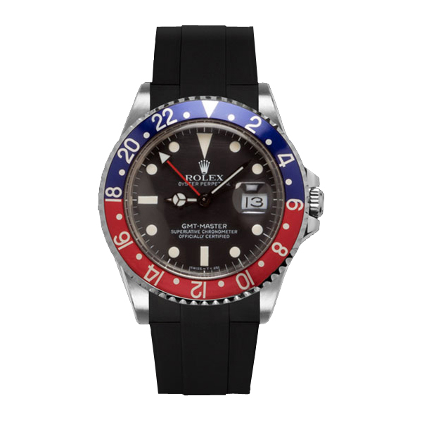 高級時計をカジュアルにROLEX GMTマスター専用のラバーベルト ラバーB RUBBERB ロレックス ROLEX 店内限界値引き中&セルフラッピング無料 VELCRO ブラック ※時計は付属しません GMTマスター専用ラバーベルト マジックテープ 全品送料無料