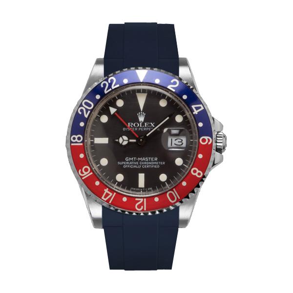 ラバーB【RUBBERB】ROLEXGMTマスター専用ラバーベルト 色:ネイビー【ROLEX純正バックルを使用】※時計、バックルは付属しません