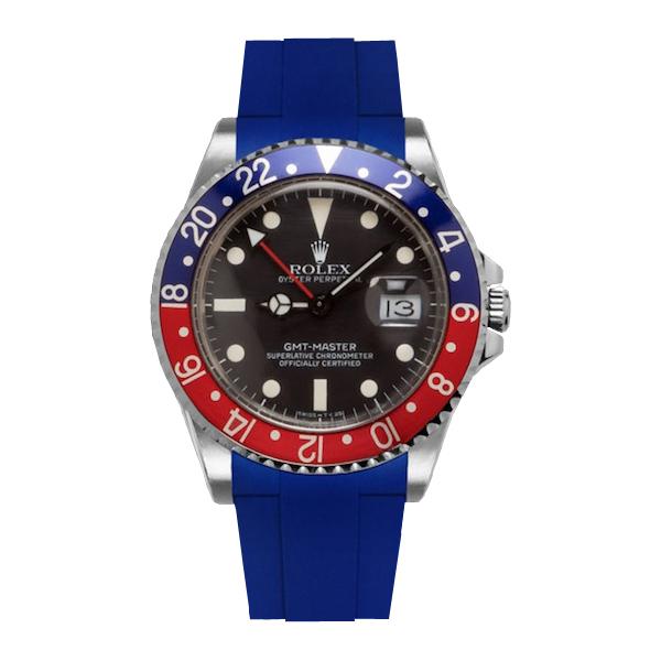 信憑 カジュアルに魅せるGMTマスター専用ラバーベルト ラバーB RUBBERB ROLEX 色:ブルー 尾錠付き 海外 GMTマスター専用ラバーベルト ※時計は付属しません
