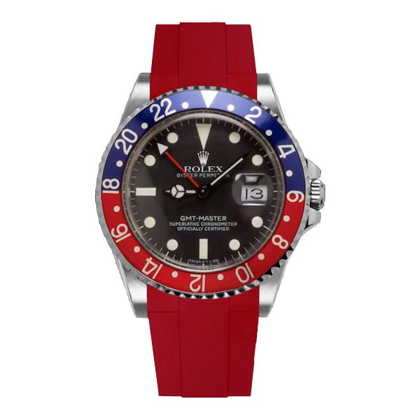 ラバーB【RUBBERB】ROLEX GMTマスター専用ラバーベルト 色:レッド【ROLEX純正バックルを使用】※時計、バックルは付属しません