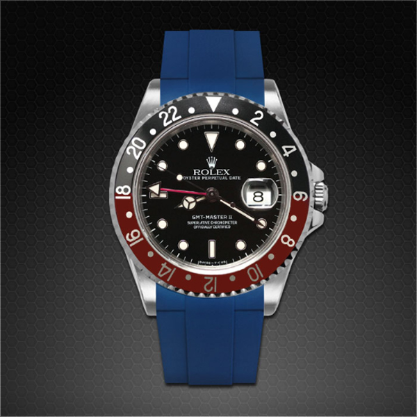 ラバーB【RUBBERB】ROLEX GMTマスターII専用ラバーベルト 色:ブルー【尾錠付き】