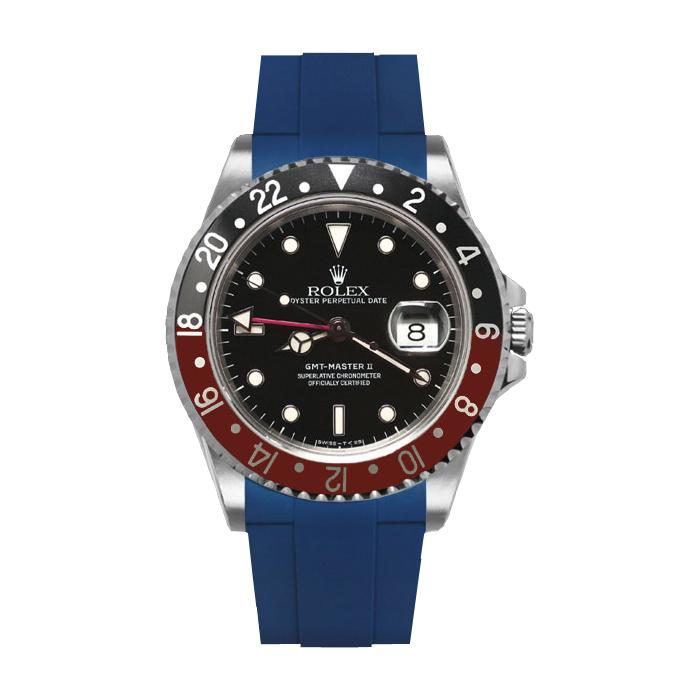 カジュアルに魅せるGMTマスターII専用ラバーベルト お見舞い ラバーB RUBBERB ROLEX ※時計は付属しません 人気 尾錠付き GMTマスターII専用ラバーベルト 色:ブルー