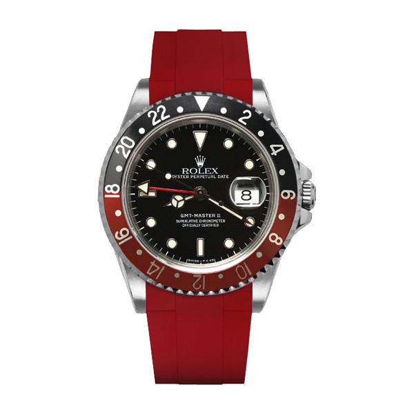 カジュアルに魅せるGMTマスターII専用ラバーベルト [宅送] ラバーB RUBBERB ROLEX 色:レッド 尾錠付き 2020新作 GMTマスターII専用ラバーベルト ※時計は付属しません