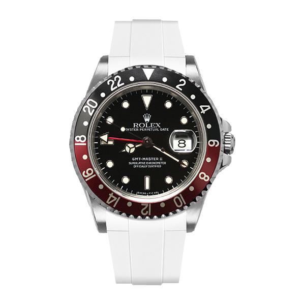 ラバーB【RUBBERB】ROLEXGMTマスターII専用ラバーベルト 色:ホワイト【ROLEX純正バックルを使用】※時計、バックルは付属しません