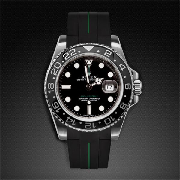 ラバーB【RUBBERB】ROLEX GMTマスターIIセラミック専用ラバーベルト 色:ブラック×グリーン【ROLEX純正バックルを使用】