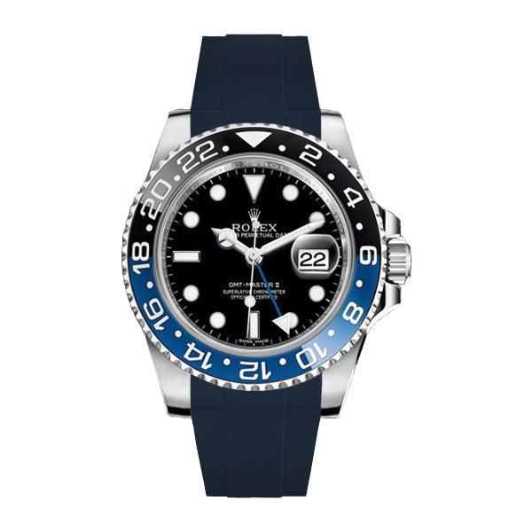 ラバーB【RUBBERB】ROLEXGMTマスターIIセラミック専用ラバーベルト 色:ネイビー【ROLEX純正バックルを使用】※時計、バックルは付属しません