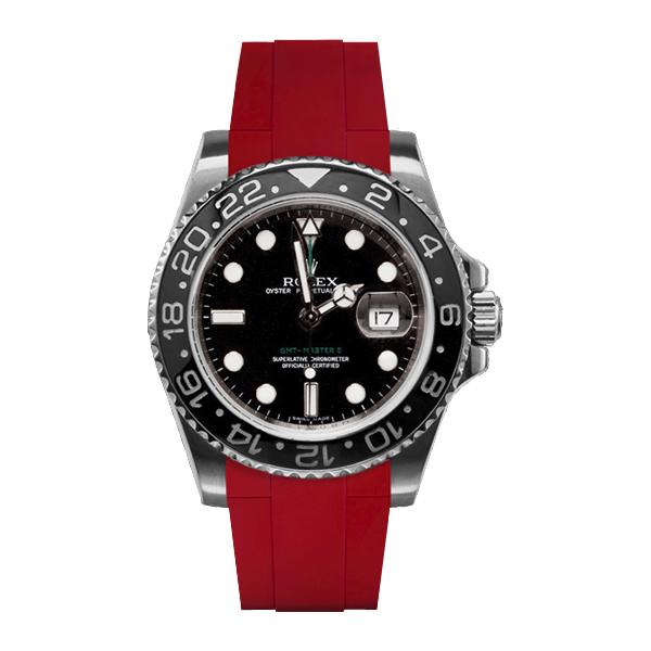 ラバーB【RUBBERB】ROLEXGMTマスターIIセラミック専用ラバーベルト 色:レッド【ROLEX純正バックルを使用】※時計、バックルは付属しません