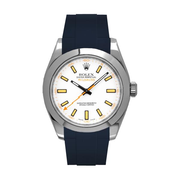 ラバーB【RUBBERB】ROLEXミルガウス専用ラバーベルト 色:ネイビー【ROLEX純正バックルを使用】※時計、バックルは付属しません
