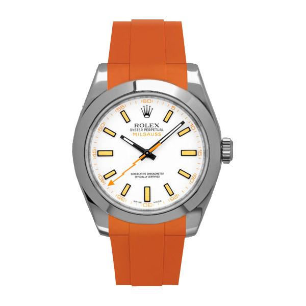 ラバーB【RUBBERB】ROLEXミルガウス専用ラバーベルト 色:オレンジ【ROLEX純正バックルを使用】※時計、バックルは付属しません