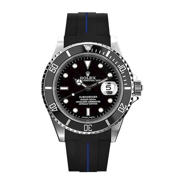 ラバーB【RUBBERB】ROLEXサブマリーナ専用ラバーベルト 色:ブラック×ブルー【尾錠付き】※時計は付属しません